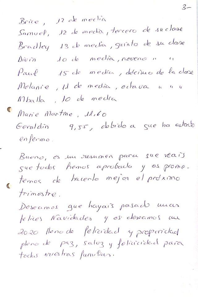 Carta desde el centro Marche en Avance